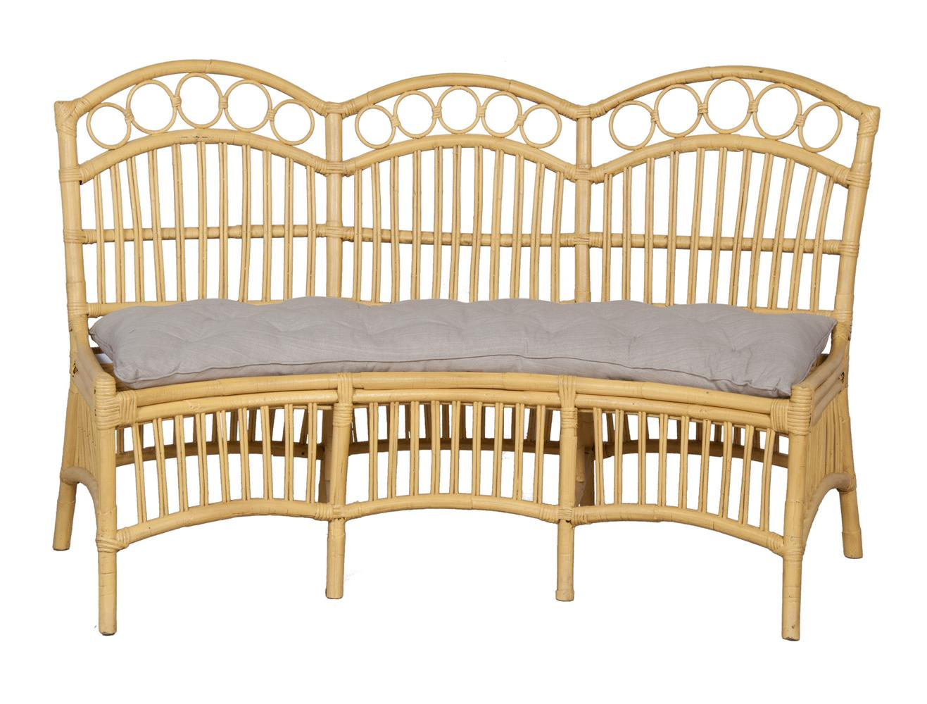 Timeless Classics Three Seat Rattan Bench With Cushion
