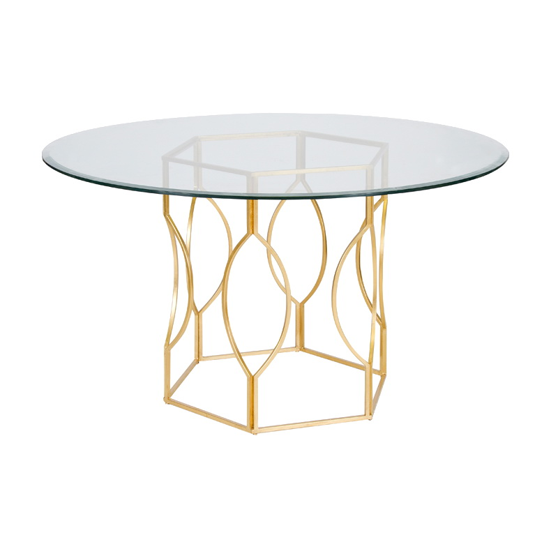 Worlds away abigail gold leafed hex dining table with 54 inch diameter glass top - Inch diameter dining table ...