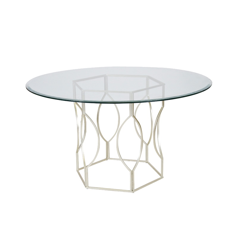 Worlds away abigail silver leafed hex dining table with 54 inch diameter glass top - Inch diameter dining table ...