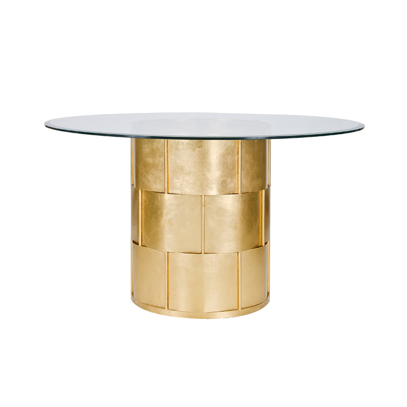 Worlds away amanda gold leaf basketwave dining table with 54 inch diameter glass top - Inch diameter dining table ...