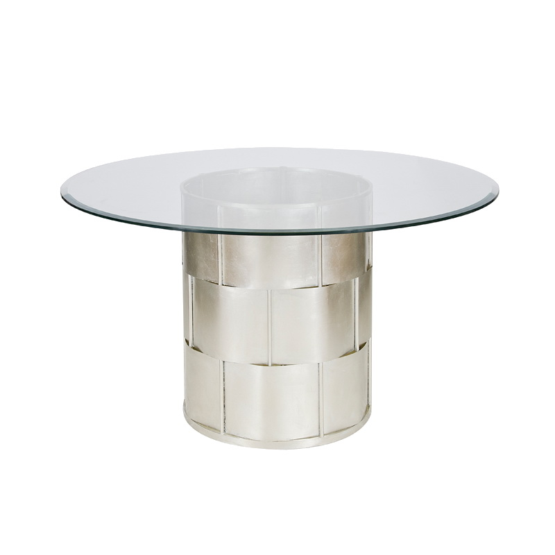 Worlds away amanda silver leaf basketwave dining table for World best dining tables