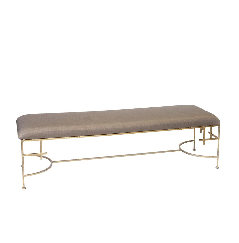 Worlds Away 60 Inch Lenght Hammered Gold Leaf Bench With Beige Linen Upholstery