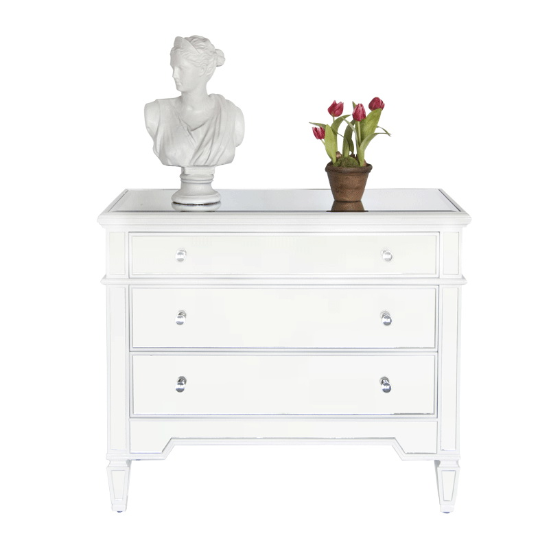 worlds away 3 drawer mirrored chest with white lacquer