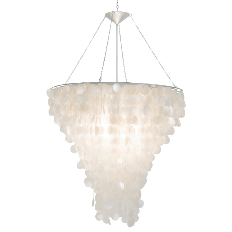 Worlds Away Large Round Capiz Shell Chandelier