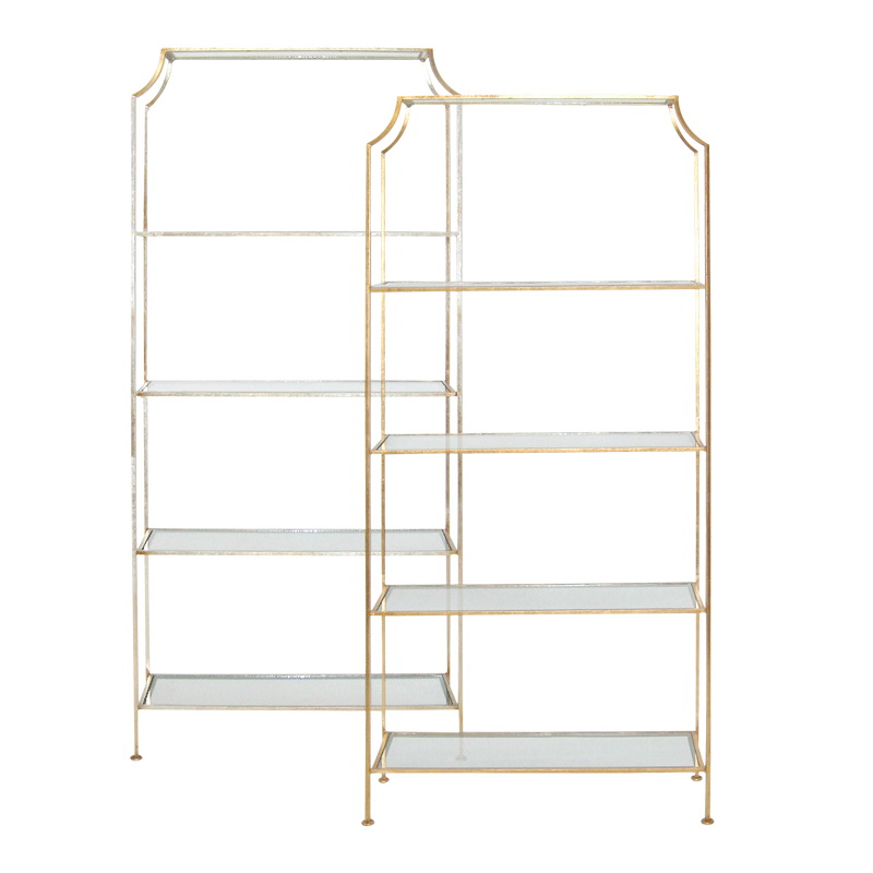Worlds Away Gold Leafed Etagere With Clear Glass Shelves
