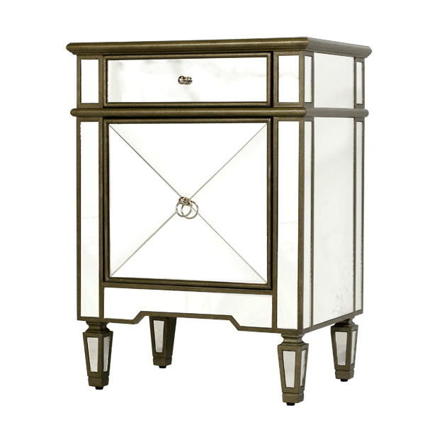 Worlds Away Mirrored Nightstand With Painted Silver Edge