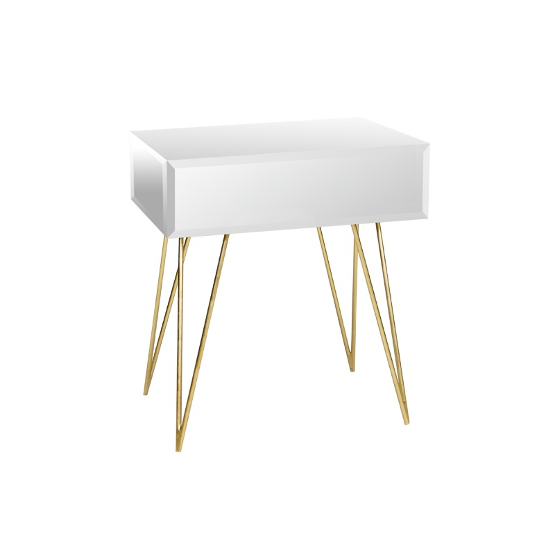 Worlds Away Mirrored Side Table With Gold Leafed Hairpin Legs