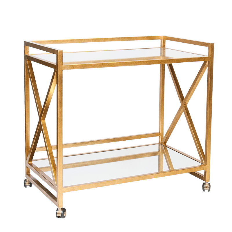 Worlds Away Gerard Gold Leafed X Bar Cart With Mirrored Tops