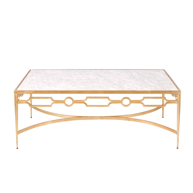 Worlds Away Grace Gold Leafed Coffee Table With White Marble Top