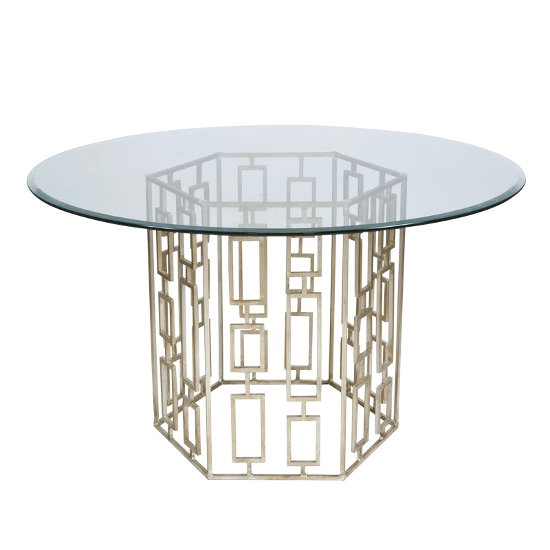Square Dining Table Base With 48 Inch Diameter Square Beveled Glass