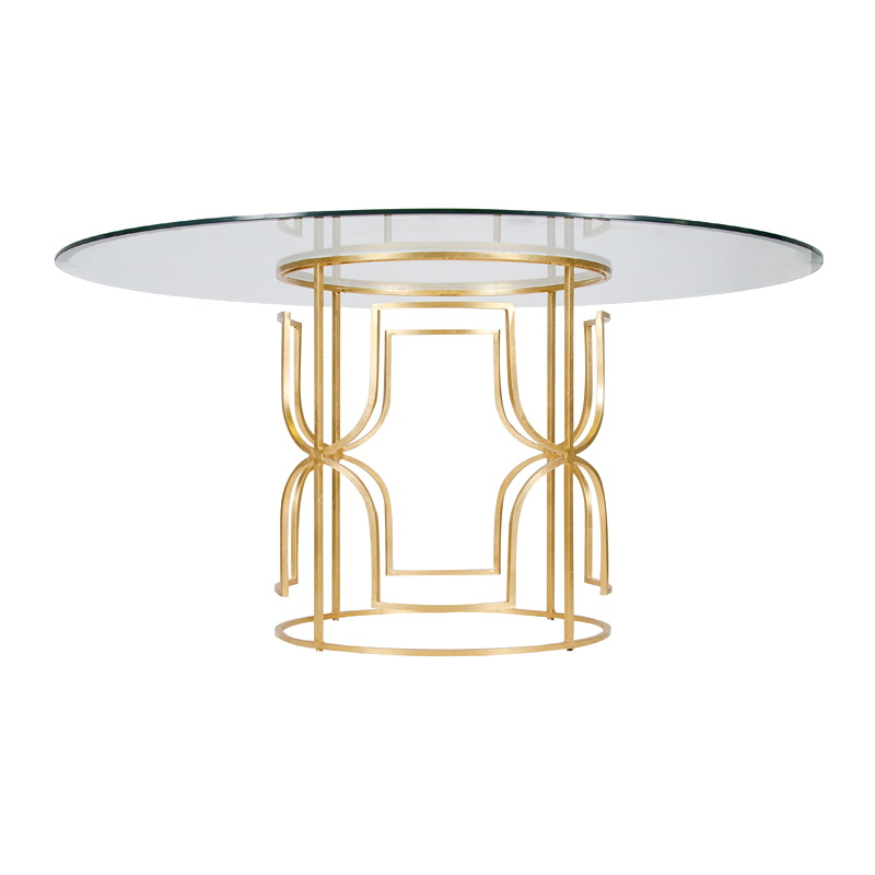 Worlds away jennifer gold leaf dining table with 54 inch for World best dining tables