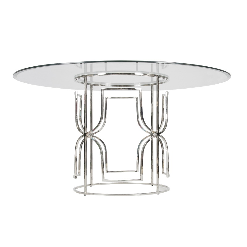 Worlds away jennifer nickel plated dining table with 54 inch diameter glass top - Inch diameter dining table ...