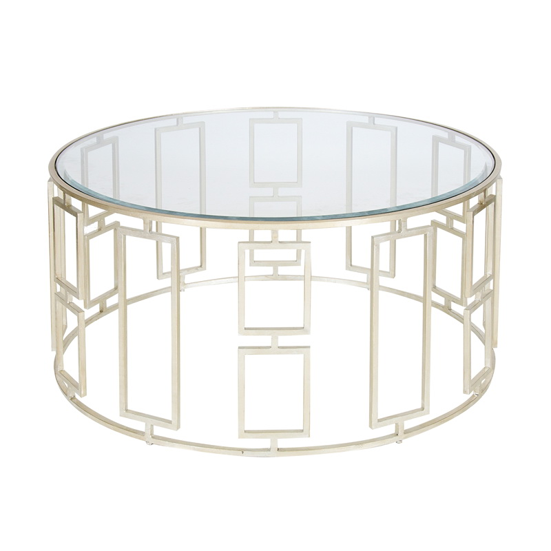 Worlds Away Jenny 36 Inch Diameter Silver Leaf Coffee Table Beveled Glass Top