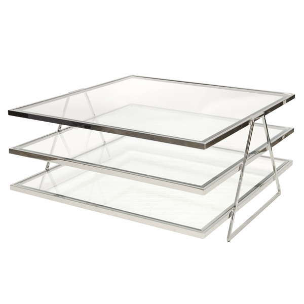 Worlds Away Jonathan 3 Tier Nickel Plated Coffee Table With Beveled Clear Glass Shelves
