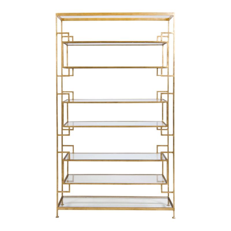 worlds away 8 shelf gold leaf etagere with glass shelves. Black Bedroom Furniture Sets. Home Design Ideas