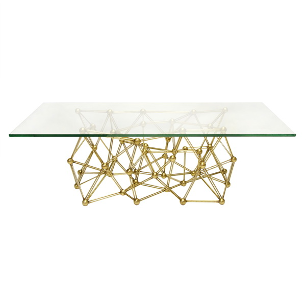 Worlds Away Molecule Gold Leaf Iron Coffee Table Base Only