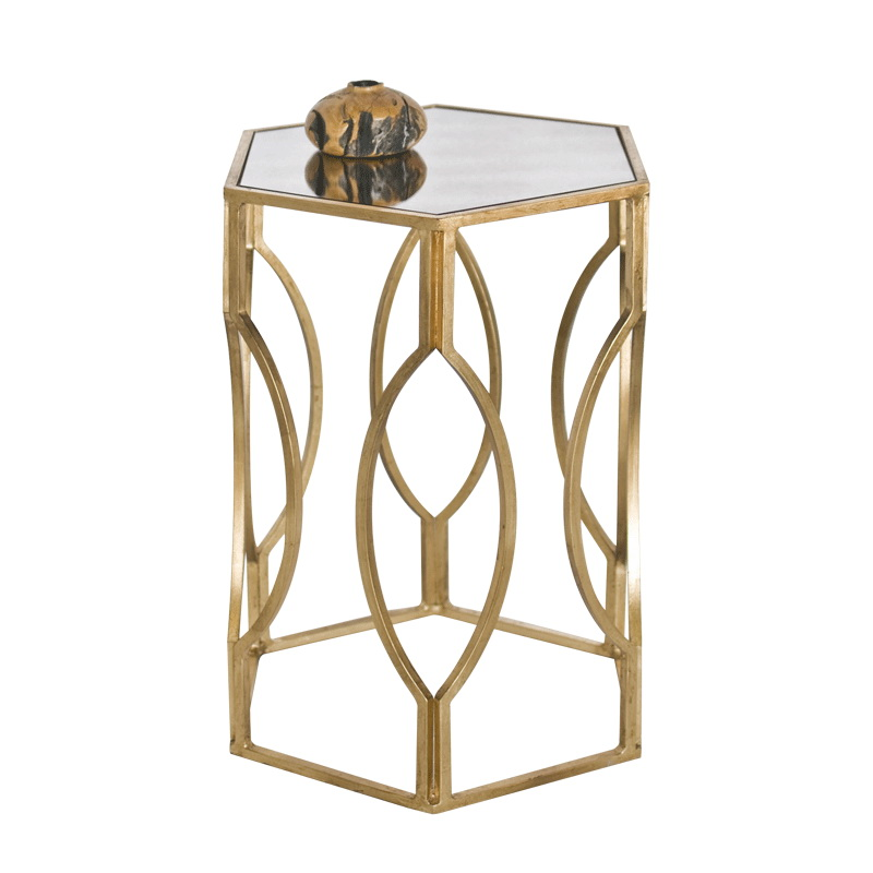 worlds away morroco hexagonal side table in gold leaf with antique mirror top. Black Bedroom Furniture Sets. Home Design Ideas