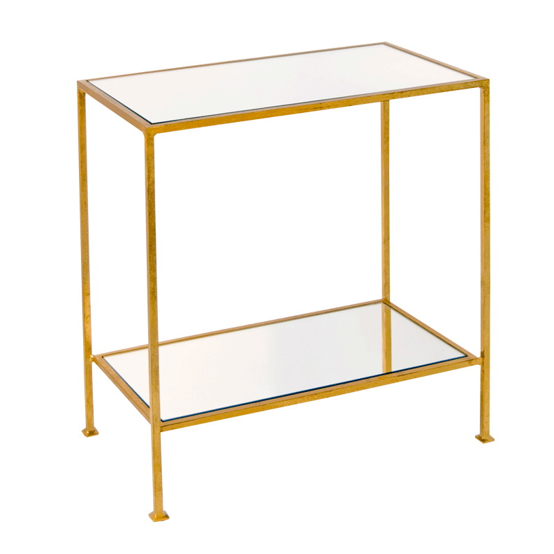 Worlds Away Plano 2 Tier Gold Leafed Rectangular Side Table With Plain Mirror -> Gold Rectangle Table