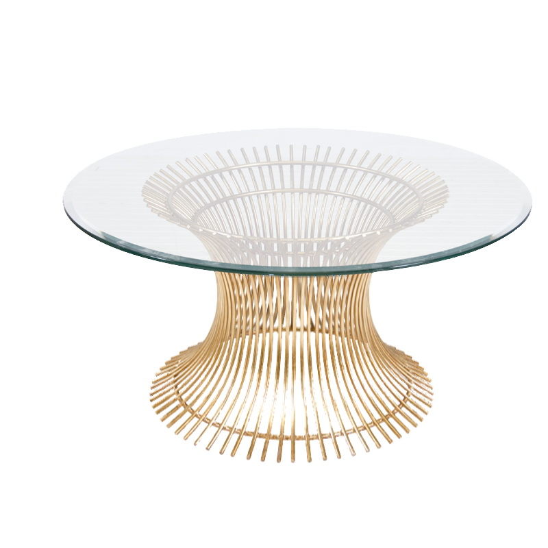 Worlds Away Powell Gold Leaf Iron Coffee Table Base With 30 Inch Diameter Beveled Glass Top