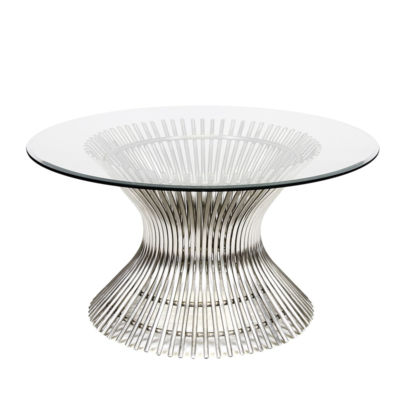 Worlds Away Powell Polished Stainless Coffee Table With 30 Inch Diameter Glass