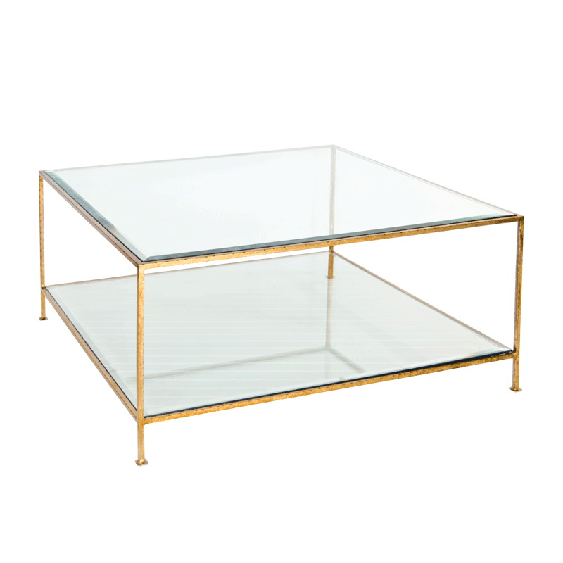 Worlds Away Quadro Hammered Gold Leaf Square Coffee Table With Beveled Glass Tops