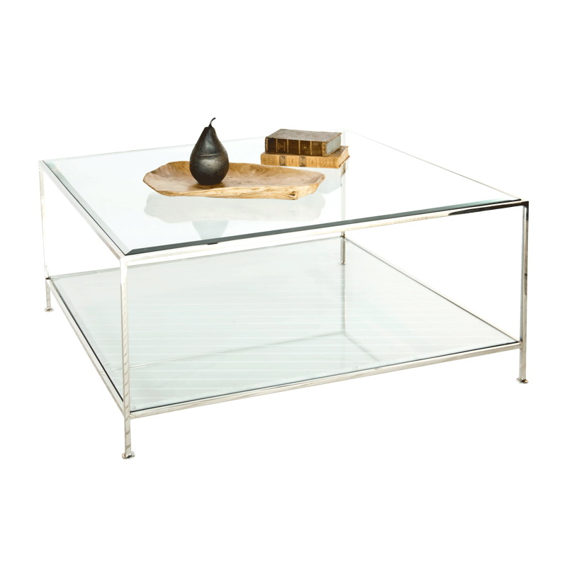 Away quadro nickel plated square coffee table with beveled glass tops