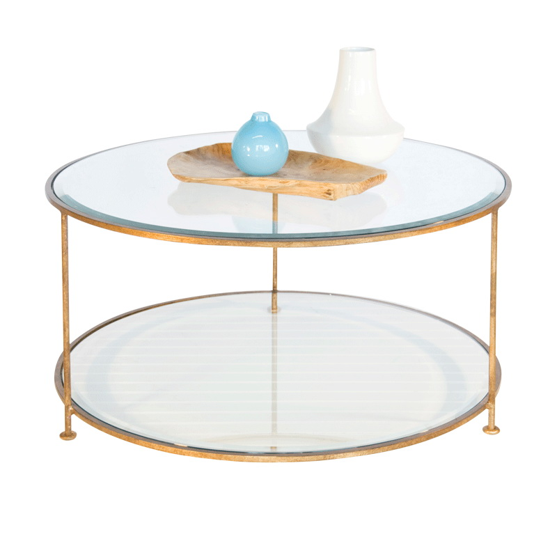 Worlds Away Rollo Gold Leaf Iron Round Coffee Table With Beveled Glass Tops