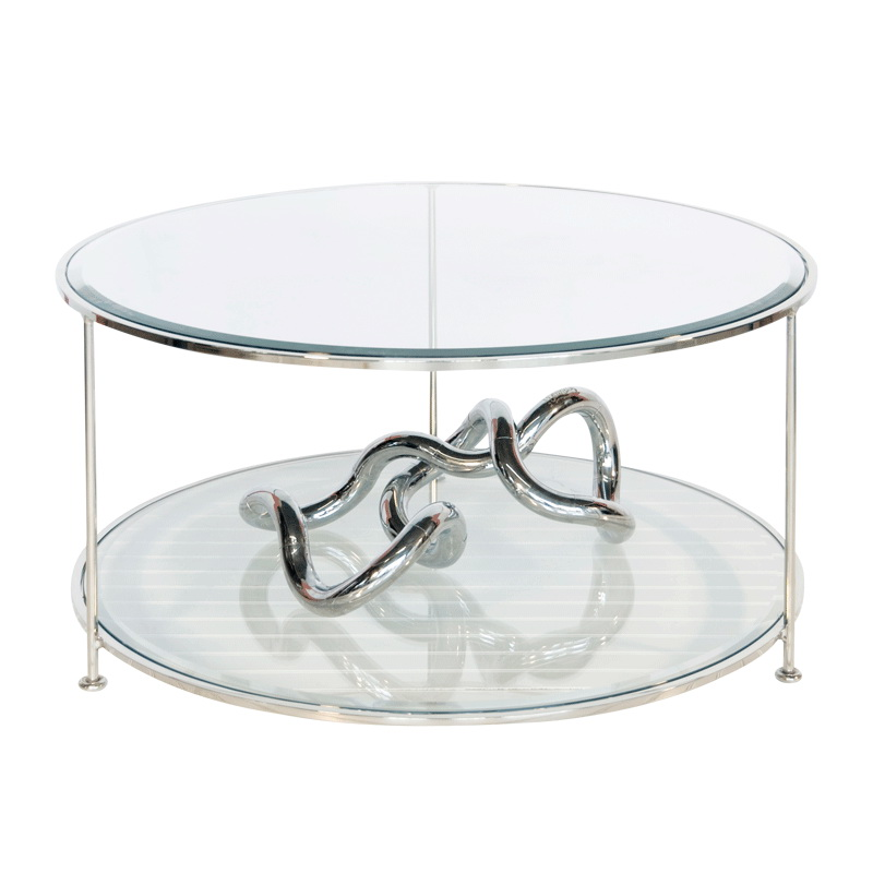 Away Rollo Nicel Plated Round Coffee Table With Beveled Glass Tops