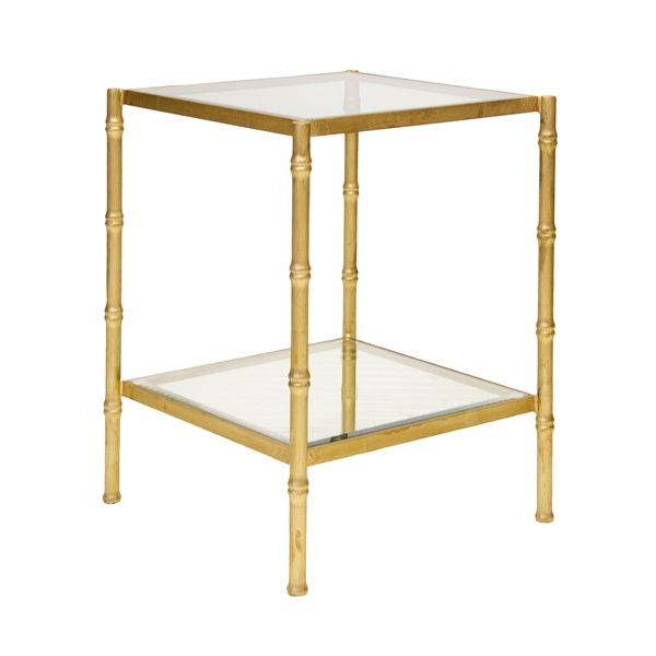 Bamboo Gold Table: Worlds Away Serena Gold Leaf Bamboo Side Table With Clear