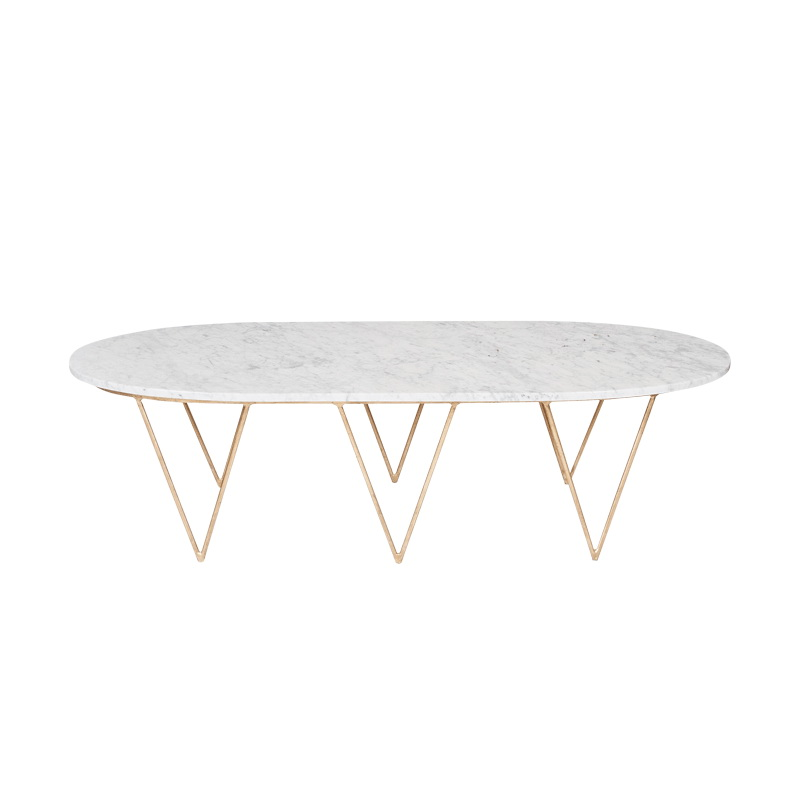 Away Surf Oval Hairpin Coffee Table In Gold Leaf With White Marble Top