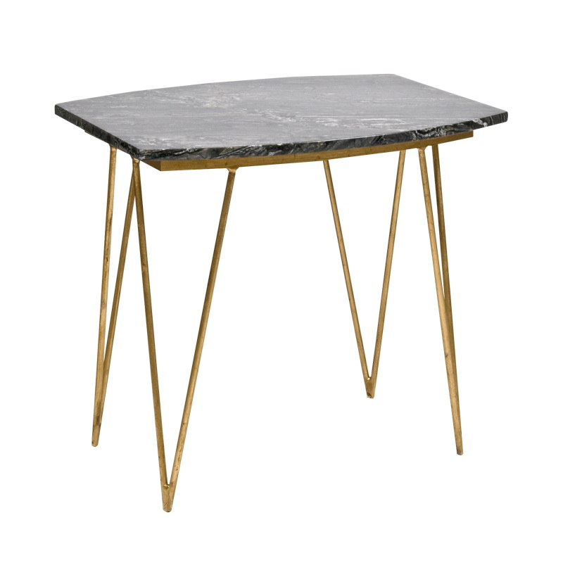 Worlds Away Suzy Hairpin Side Table In Gold Leaf With Black Marble Top