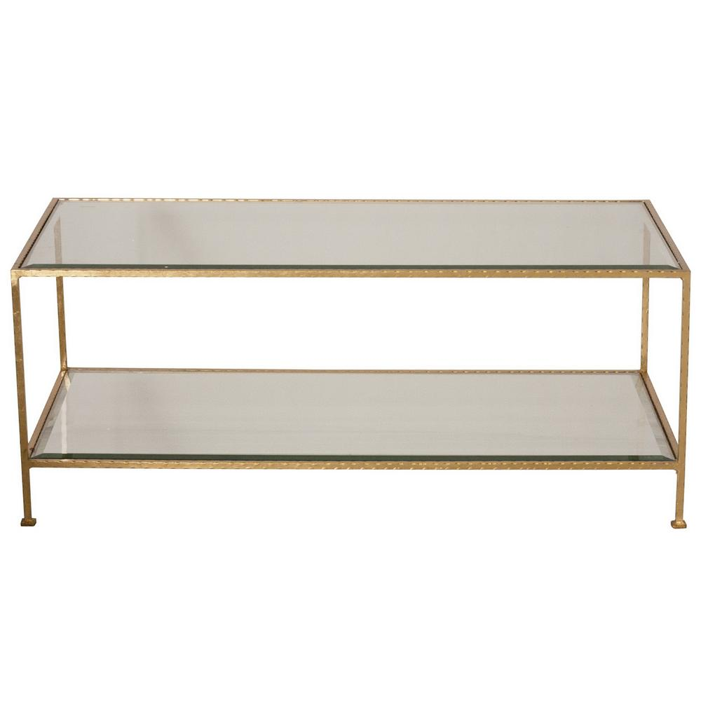 Worlds Away Taylor Hammered Gold Leaf Rectangular Coffee Table