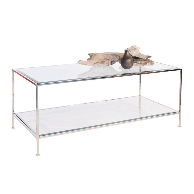 Worlds Away Taylor Hammered Sleek Nickel Plated Rectangular Coffee Table: sleek coffee table