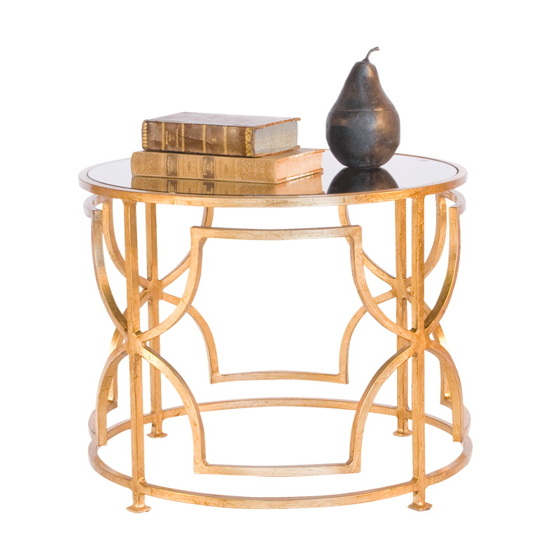 Worlds Away Tess Gold Leaf Round Cocktail Table With Antique Mirror Top