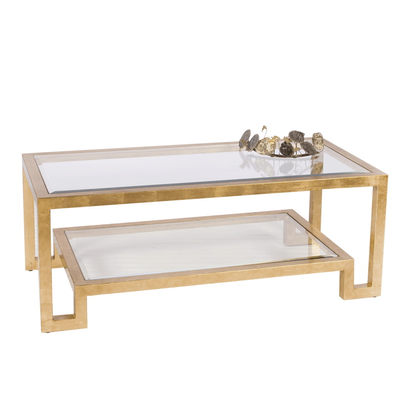 Worlds Away Winston Gold Leaf Two Tier Coffee Table With Clear Beveled Glass