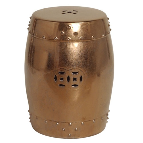 Emissary 1255gd Drum Garden Stool Gold Large
