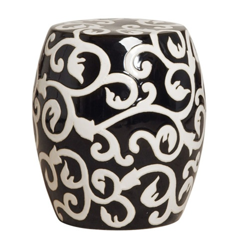 Emissary 1257bk Ceramic Garden Stool With Vine Design