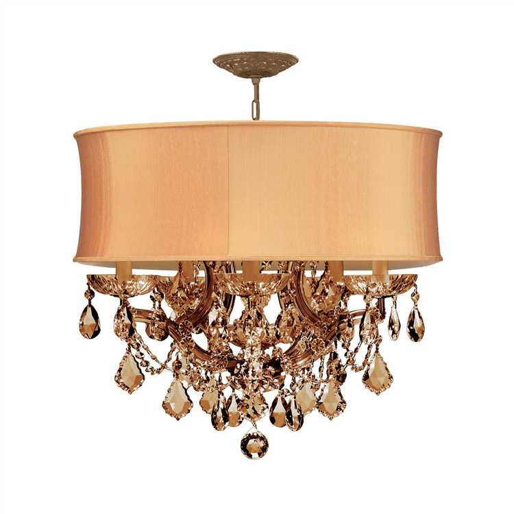 brentwood 6 light golden teak crystal brass drum shade chandelier
