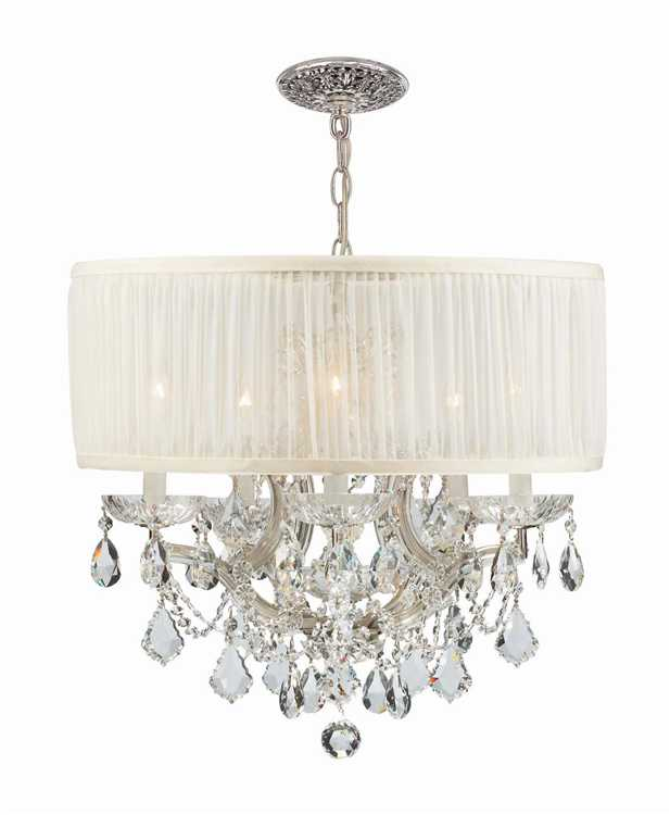 crystorama brentwood 6 light crystal chrome drum shade chandelier i