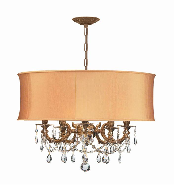 crystorama gramercy 5 light brass gold drum shade chandelier