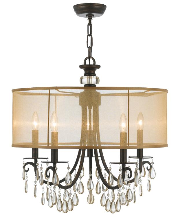crystorama hampton 5 light drum shade bronze chandelier