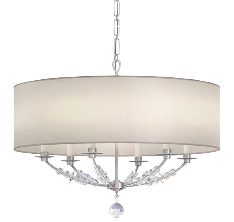 crystorama mirage 6 light nickel drum shade chandelier