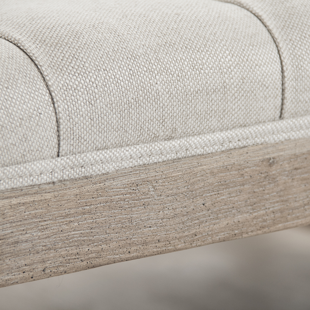 Zentique Square Tufted Ottoman Limed Grey Oak And Linen