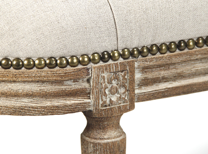Zentique Michel Tufted Bench Limed Grey Oak And Natural Linen