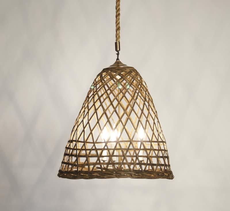 Zentique Bamboo Basket Hanging LIght