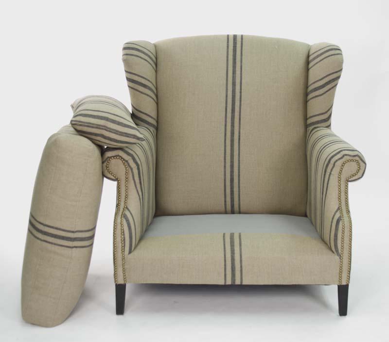 zentique napoleon half wingback chair oak and linen. Black Bedroom Furniture Sets. Home Design Ideas