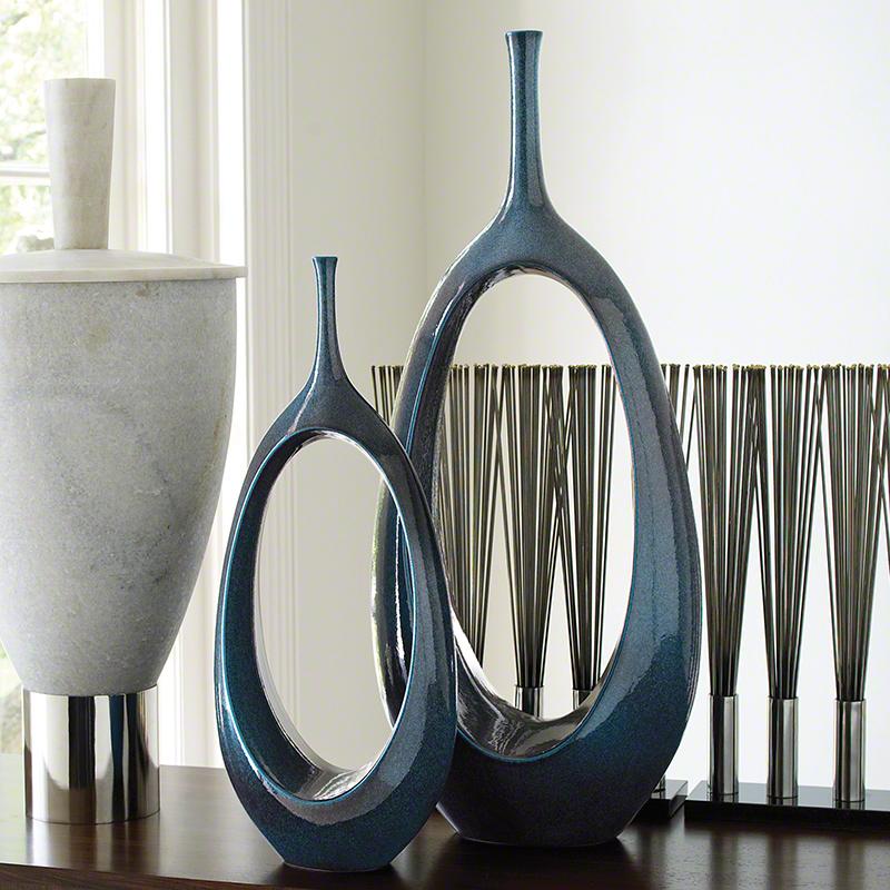 Global Views Open Oval Ring Vase Celestial Large