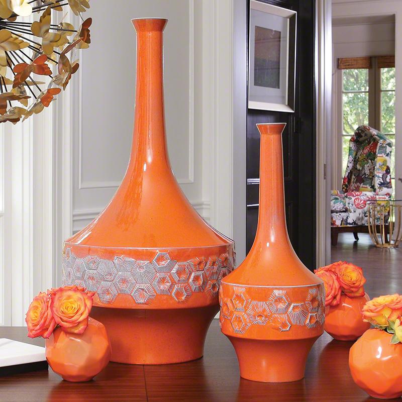 Home Decor Orange: Global Views Beehive Vase Orange Large