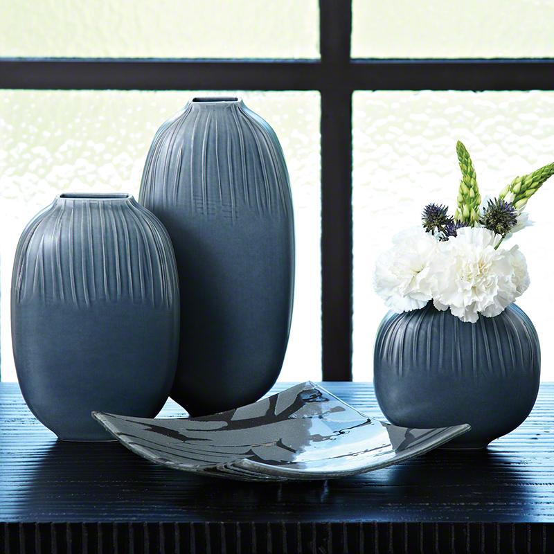 Global Views Vase: Global Views Streak Vase Slate Medium