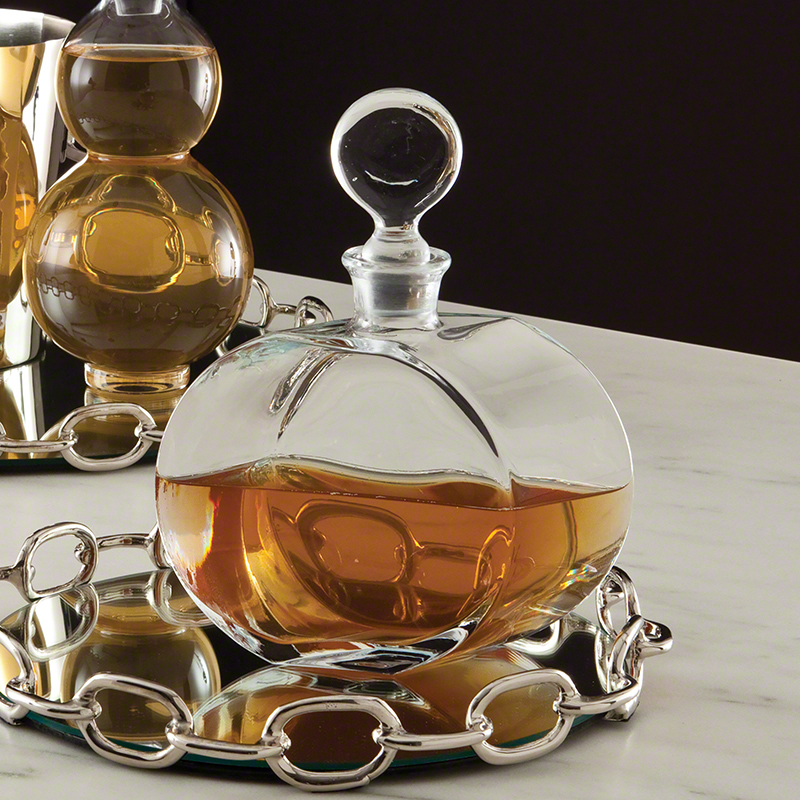 Global Views Glass: Global Views Round Glass Decanter Offset Shape